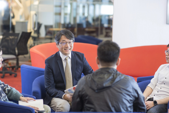 Prof. Albert Chung always enjoys a friendly chat with his students.