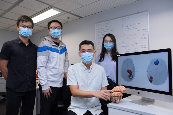 Prof. Wang Jiguang (second right) and his research team members