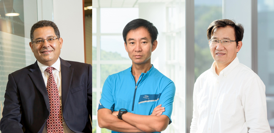 Three more School of Engineering faculty have been appointed to named professorships: (from left) Prof. Khaled Ben Letaief, Prof. Chan Man-Sun, and Prof. Li Zexiang.