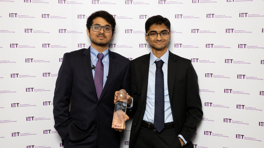 Amrut (left) and Paddy at the global final of the IET Present Around The World Competition.