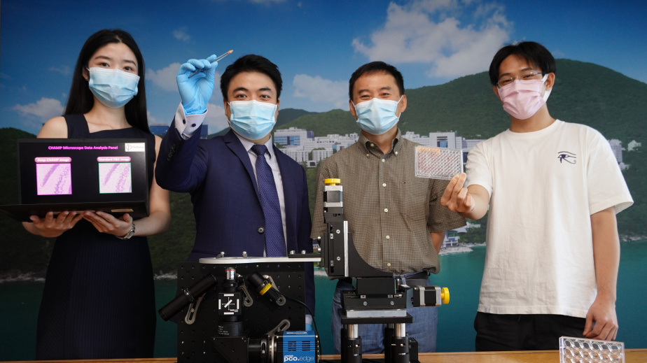(From right) Wong Ka-Chin from SPES Tech, Prof. Gary Chan, Director of HKUST's Entrepreneurship Center, and Prof. Terence Wong and his PhD student Zhang Yan from PhoMedics.