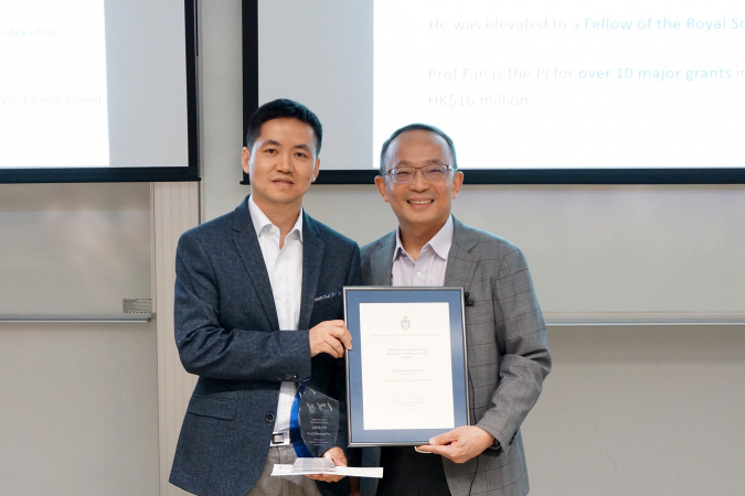 Prof. Fan Zhiyong, Associate Professor of Electronic and Computer Engineering at HKUST, received the Research Excellence Award from Prof. Tim Cheng Kwang-Ting, HKUST Dean of Engineering.