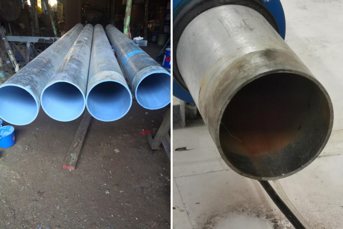 Water pipes (left) with MAP-1 coating and water pipe (right) without.