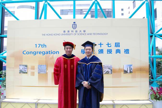 Sai-Kit and his PhD supervisor (left) Prof. TANG Chi-Keung, Professor of the Department of Computer Science and Engineering.