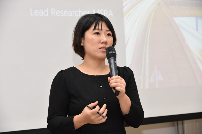 "Dr Ying Yan, Lead Researcher of MSRA, delivered a keynote speech on ""Building Enterprise Blockchain Ecosystem""."