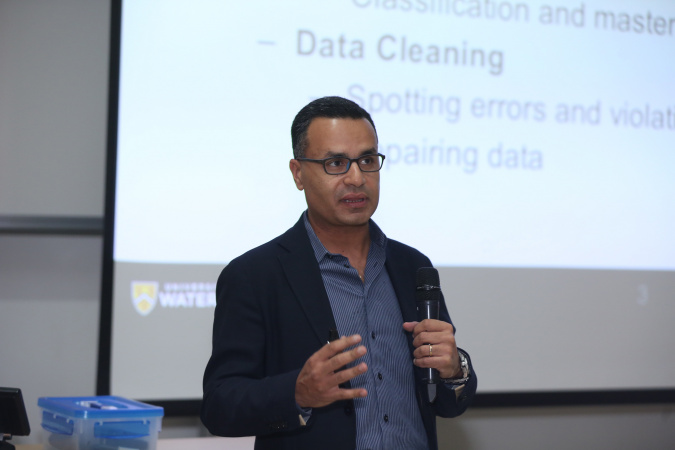 "Prof Ihab Ilyas from the University of Waterloo delivered a keynote speech on ""Building Scalable Machine Learning Solutions for Data Curation""."
