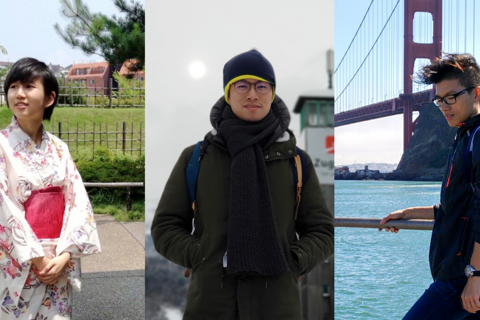 (From left) Alumni CHAU Wing-In, Stephen LUI Ka-Fai and Alan SHAM Ka-Yi have adapted to their new ways of life in Tokyo, Munich and San Francisco respectively.