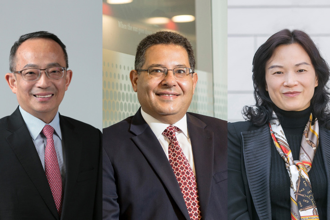 (From left) Prof. Tim Cheng, Prof. Khaled B. Letaief, and Prof. Zhang Qian are newly elected Fellows of the Hong Kong Academy of Engineering Sciences.