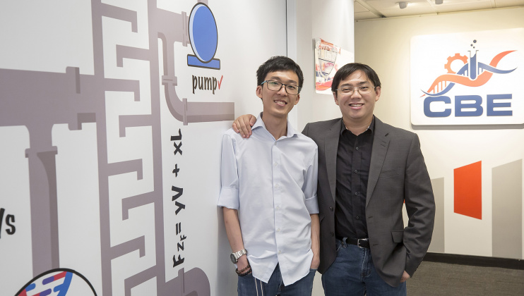 (From right) HKUST alumni Donald Lai and Winsor Lee, who earned Bachelor's degrees from the Department of Chemical and Biological Engineering and worked on research projects at the University, joined the same company after graduation where they continue to further their research and apply their engineering knowledge, which in turn has contributed to society during the COVID-19 pandemic.