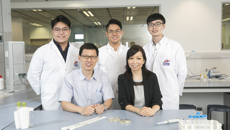 Chemical and Biological Engineering alumna Vanessa Ho Po-Ki (right, first row), Prof. Marshal Liu (left, first row), and three BEng fresh graduates (from left, second row) Andy Choy Man-Hin, Isaac Kwan Chi-Shing and Michael Lui Wing-Piu, join hands to achieve product commercialization of an idea that originated in a course project.
